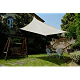 Cool Area Square 11 Feet 5 Inches Sun Shade Sail with Stainless Steel Hardware Kit, UV Block Fabric Patio Shade Sail in Color Cream, furniture