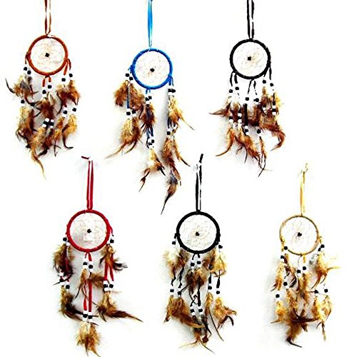 12 Bulk Lot Assorted Color Dream Catcher with Brown Webbing / Dreamcatchers with Real Feather and Beads