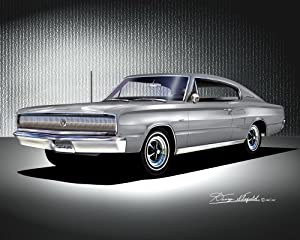 Amazon.com: 1966-1967 DODGE CHARGER Gray - ART PRINT POSTER BY ARTIST