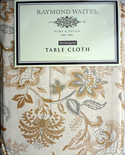 Raymond Waites Fabric Tablecloth Holiday Christmas Gold And Beige Floral  Pattern On Cream 60 Inches By