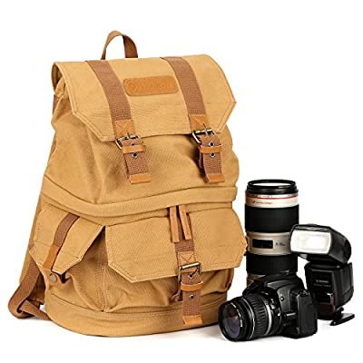 TARION Portable Canvas Digital Camera Photography Backpack Case Bag Fits 2xCameras 2xLens and 1xFlash for SLR DSLR Mirrorless Yellow