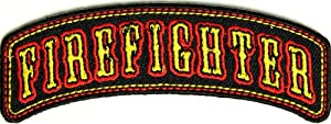 Small Firefighter Patch - Rocker, 3.75x1.5 inch, small embroidered iron on patch