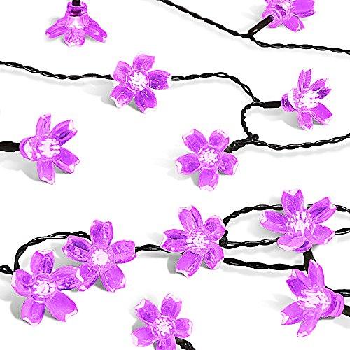 [Solar Outdoor String Lights, Satu Brown 23ft 50LED Waterproof Fairy Flower Peach blossom Decorative Lighting For Home, Garden, Patio, Yard,] (Flower Fairy Costume Ideas)