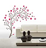 Asmi collection PVC Wall Stickers Wall Decals Pink Tree