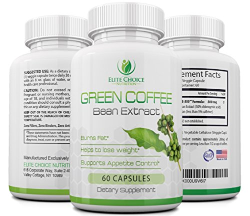 Pure Green Coffee Bean Extract High Dose 1600mg per Day Weight Loss Detox Supplement & Extreme Fat Burner High in GCA's with 50% Chlorogenic Acid 60 Veggie Capsules (Leptin Green Coffee 800 compare prices)