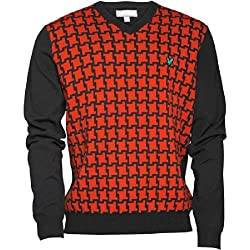Mens Lyle And Scott Club Dog Tooth Jumper Pure Red Guys Gents