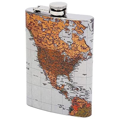 8oz Ss Flask W/antique World M - Style KTFLMAP