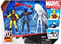 "Marvel Universe Year 2009 ""70 Years of Marvel Comics"" Exclusive Series 3 Pack 4 Inch Tall Action Figure - DARE DEVIL with Nunchaku, Stealth Operation IRON MAN with Fire Blast and SILVER SURFER with Surfboard"