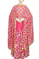Fabron pink dori work raw silk lehenga choli & dupatta set.