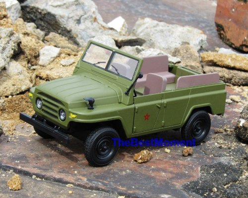 Car BJ213 Military Combat Jeep China Russia Army 1:24 Diecast Model Car Convertible with Car Lighting + Sound (Original from TheBestMoment @ Amazon)