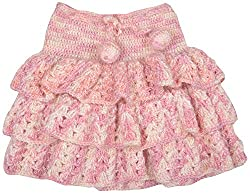Kuchipoo Hand Knitted Woolen Baby Girl Skirt (Pink, 1.5 year to 2.5 years months)