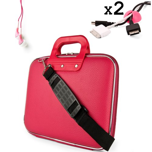 Uniquely designed SumacLife Brand Pink Ultra Durable Reinforced 13 Inch Cady Hard Shell Sports Bag for all models of the HP Envy 4-1130us 14 inch ultrabook (HP Envy series, windows 8, 4-1130us, 4-1110us, Black) + 2 Cable Holder Organizers + Earphones
