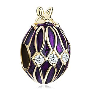 Pugster 22k Golden Amethyst Purple Drip Gum Rabbit Clear Crystal European Faberge Egg Beads Fits Pandora Charms Bracelets