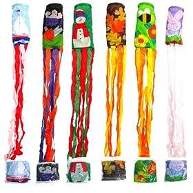 Festive 6-pack of Seasonal Decorative Windsocks