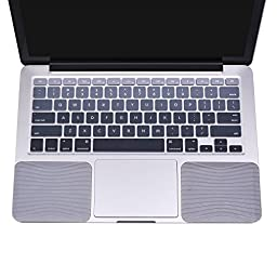 Cosmos ® Silicone Palm Wrist Rest Pads Set and Silicone Keyboard Cover Skin for Apple MacBook Air 13, MacBook Pro 13.3-Inch 15.4-Inch Laptop with Retina Display (Gray Color Set)