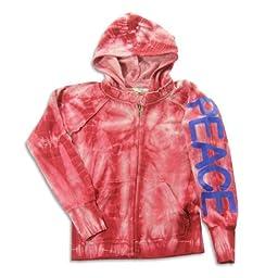 Vintage Havana - Big Girls\' Tie Dye Peace Sweatshirt Jacket, Burgundy 23197-10