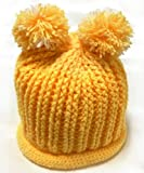 (ル・タン)Le TEMPS ハンドメイド ベビー用ニット帽子 ボンボン付 1~3歳用 3(イエロー×ホワイト)