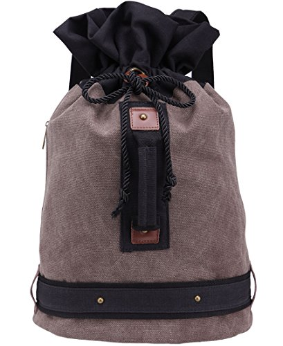 KIPTOP Unisex Bucket Canvas Backpack Rucksack Bookbag Hiking Bag