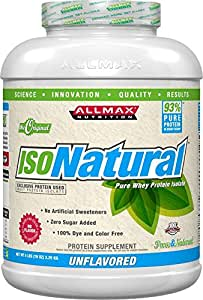 ALLMAX Nutrition IsoNatural Whey Protein Isolate Unflavored -- 5 lbs
