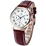ORKINA Rose Gold Stainless Steel Chronograph Brown Leather Mens Wrist Watch New ORK152