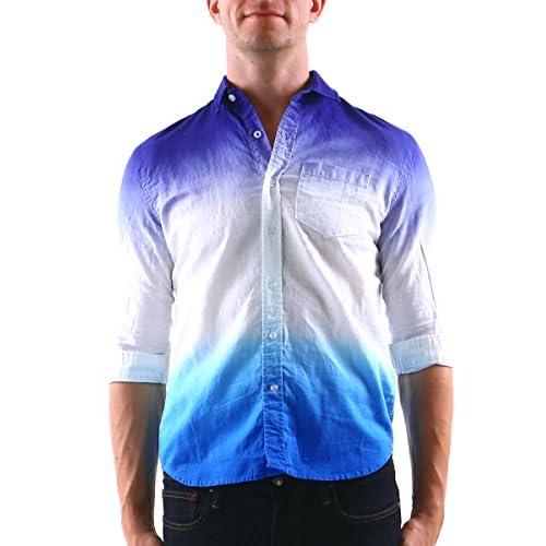(ビーノ) BENO 麻混 7分袖 グラデーション 長袖 シャツ ブルー / L