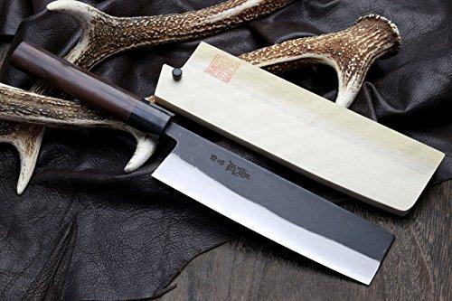 "Yoshihiro Aoko (Blue Steel) Kurouchi Nakiri / Usuba Japanese Vegetable Chef Knife 6.5"" (165mm) with Natural Magnolia Saya"