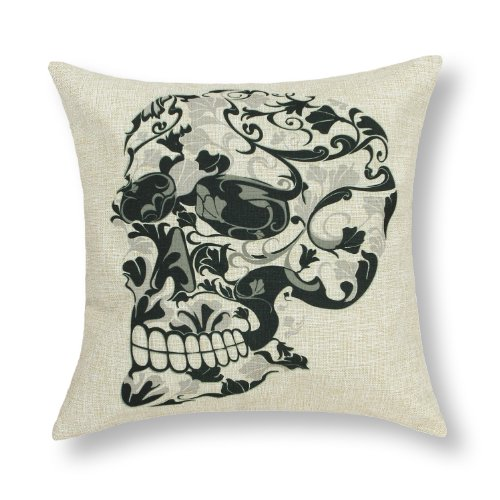 "Euphoria Home Decorative Cushion Covers Pillows Shell Cotton Linen Blend Vintage Black Floral Skull 18"" X 18"" front-399971"