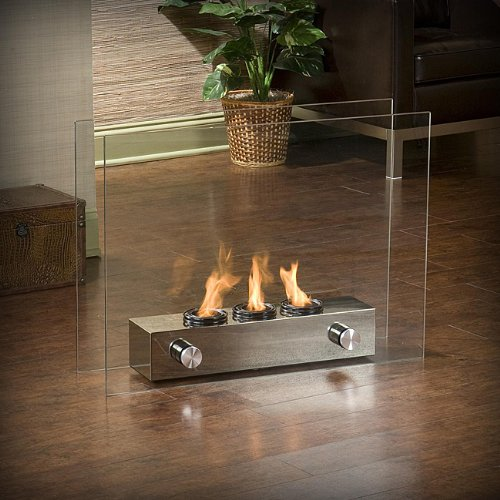 Loft Brushed Nickel Portable Indoor Outdoor Fireplace