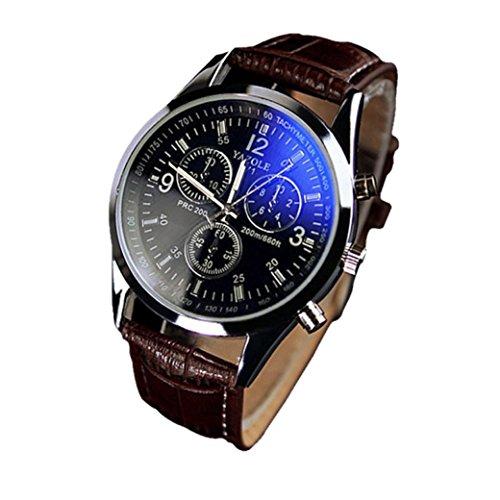 los hombres son caja redonda de cuero reloj de pulsera de reloj analógico de cuarzo-marrón