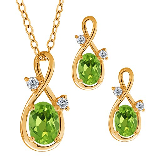1.88 Ct Oval Green Peridot Gemstone 14k Yellow Gold Pendant Earrings Set 1 88 ct oval green peridot gemstone 14k yellow gold pendant earrings set
