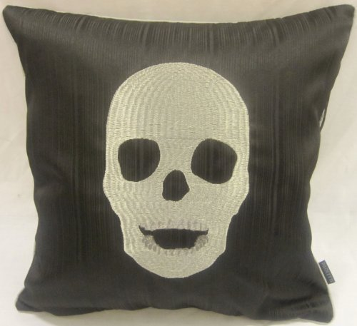Moderner Spieler Totenschädel Skelett Kopf Halloween Schwarzer Kissen Bezug 45cm online kaufen