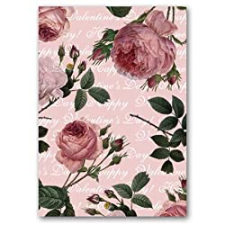 "Valentine's Day with Large Pink Roses - 5"" x 7"" Vellum Overlay Valentine's Day Greeting Card"