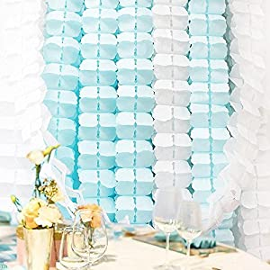 Color Your World 6Pcs Hanging Crafts Garland Tissue Paper Flowers Perfect for Wedding Party Decor,3 Meters Long each-Blue