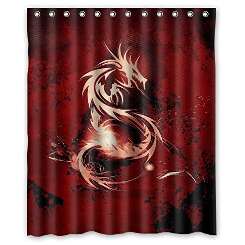 [MOLD & MILDEW RESISTANT & Halloween Costume Personalized Custome Custome Fond D ¨¦cran Dragon Waterproof Polyester Fabric Bathroom Shower Curtain 60