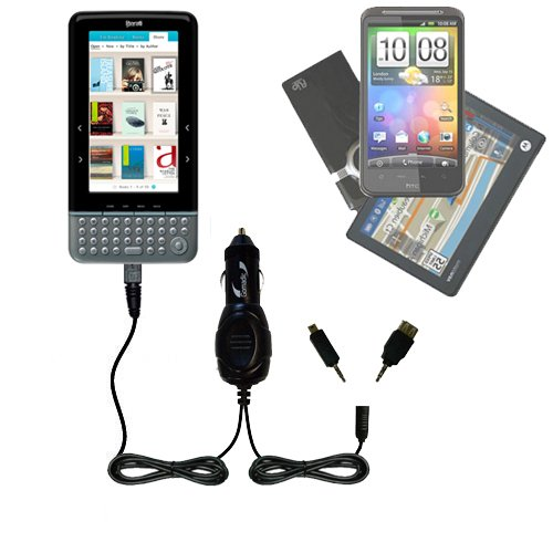 Literati Color eReader compatible Gomadic Multi Port Mini DC Auto / Vehicle Charger - One Charger with connections for two devices using upgradeable TipExchange at Electronic-Readers.com
