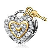 """Best gift for her, NinaQueen """"Love You Forever"""" 925 Sterling Silver Lock Key Heart Shape Charms"""