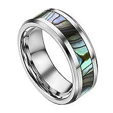 buy Men'S Finger Rings Tungsten Steel Wedding Bands Wide Green Chameleon Shell Stripe Width 8Mm Size 10