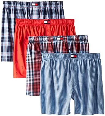 Tommy Hilfiger Men's Blues Checks and Red Print 4 Pack Woven Boxer, Multi, Medium