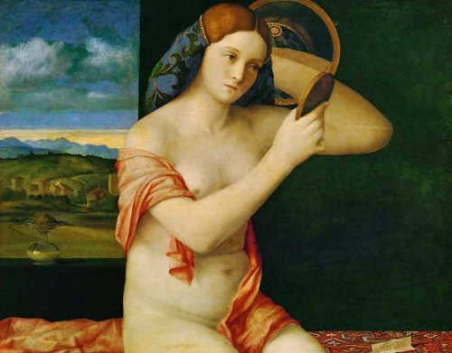 "Kunstreproduktion: Giovanni Bellini ""Junge Frau bei der Toilette"" 91 x 71"