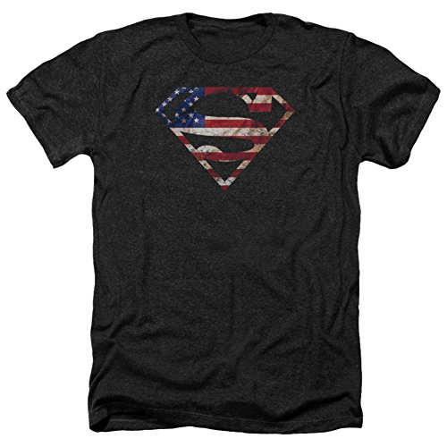 Superman- U.S. Flag Shield Distressed T-Shirt Size M (Superman: Man Of Steel Cape)
