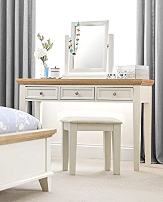 Happy Beds Portland Stone White and Oak Wooden Dressing Table Drawers Furniture
