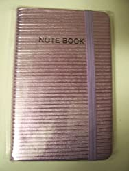 Fashionable Grooved Metallic Notebook With Ribbon Closure Violet (3.5 X 5.5)