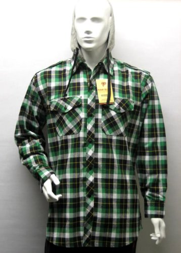 Mens Casual Lumberjack Hooded Check Shirt Jacket (Detachable Hood) in Green, Extra Large (XL)