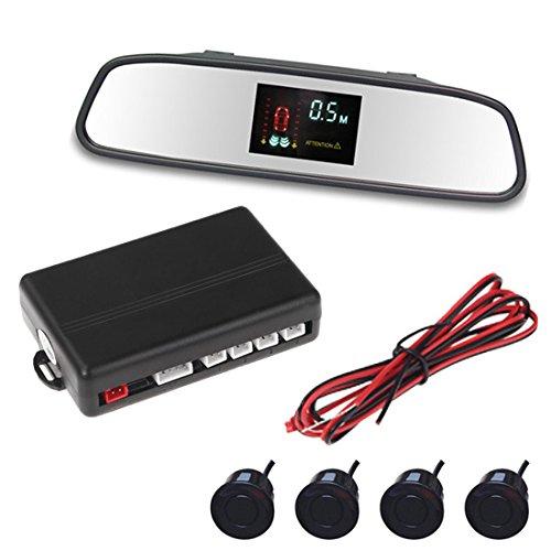 Vfd Display Car Parking Sensor 4 Sensors Rearview Mirror Reverse Backup Radar System Kit 12V Buzzer Alarm Parking Assistance front-1074366