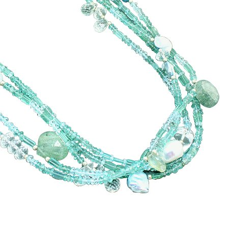 925 Sterling Silver Artisan Apatite Aquamarine White Topaz Blue Topaz Gemstone Beads Strand Necklace Size 18 Inches
