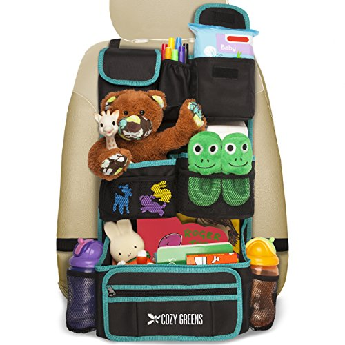 Cozy Greens Backseat Car Organizer | Must Have For Baby Travel Accessories And Kids Toy Storage | + FREE GIFT Traveling With Kids eBook | Eco Friendly Material | Lifetime 100% Satisfaction Guarantee