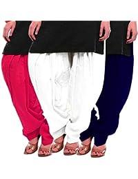 Women's Rani White-Blue Cotton Patiala Salwar