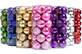 """Sea Team 60mm/2.36"""" Classic Matte Glaze & Glitter Finish Solid Color Christmas Balls Ornaments Set Multicolor-choice Shatterproof Festive Hanging Ornaments in 3-Finish, 24-Pack (Pink)"""