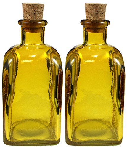 Recycled Glass Olive Oil & Vinegar Bottles, Set of 2 8oz Square Spanish Tavern Style Yellow Bottles w/Corks (Recycled Glass Jars compare prices)