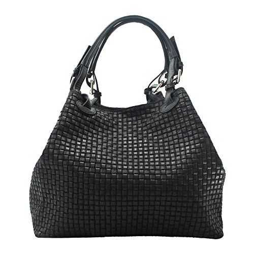 "CTM Borsa a Mano ""Intrecciata"" da Donna con Tracolla in vera pelle made in Italy - 34x29x18 Cm"